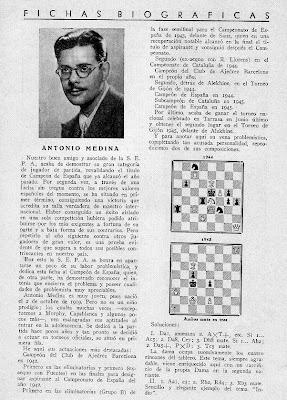 Antonio Medina, dos problemas de ajedrez