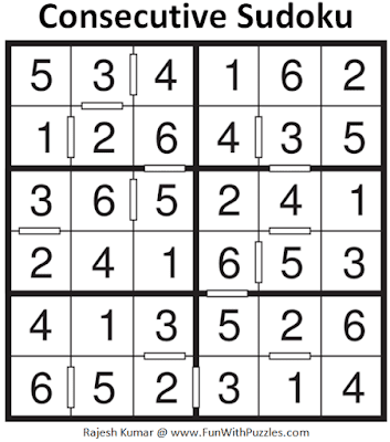 Answer of Consecutive Sudoku Puzzle (Mini Sudoku Series #118)