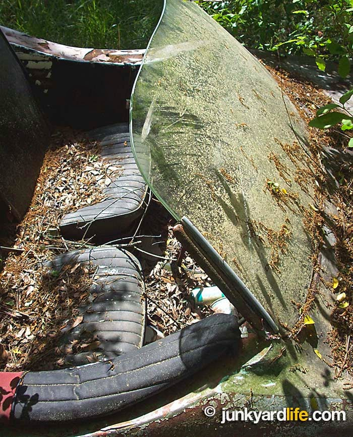 Piles of leaves and sticks landed in the interior of the Claymobile's the open air cockpit during its years parked outdoors.