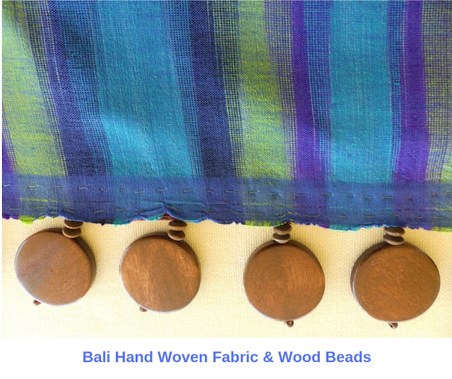 DIY Drapes close-up Bali fabric & wood bead trim