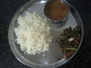 bendakaya fry andhra style thali with rice and sambar