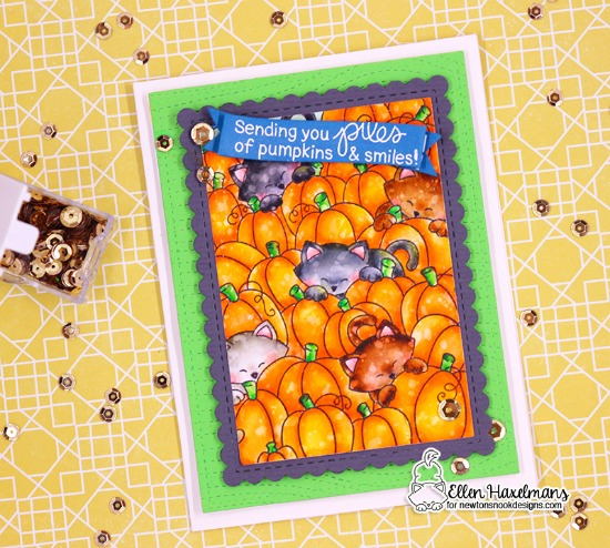 Cats in Pumpkin Patch Card by Ellen Haxelmans | Newton's Pumpkin Patch Stamp Set by Newton's Nook Designs #newtonsnook