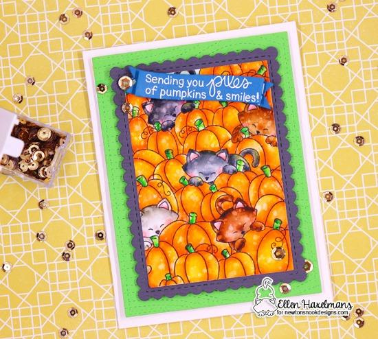 Cats in Pumpkin Patch Card by Ellen Haxelmans | Newton's Pumpkin Patch Stamp Set by Newton's Nook Designs #newtonsnook