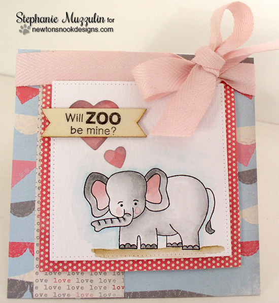 Elephant Valentine card by Stephanie Muzzulin | Wild About Zoo Stamp set by Newton's Nook Designs #newtonsnook