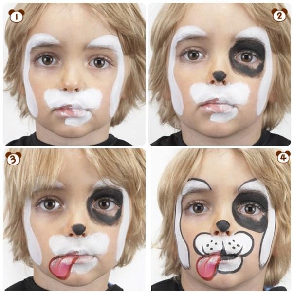 como hacer un maquillaje de perro Dalmata