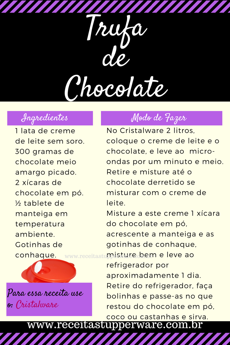 Receitas Tupperware de trufa de chocolate