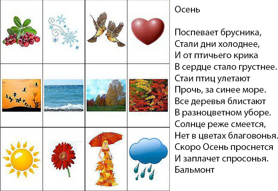Мнемотаблица к стихотворению осень