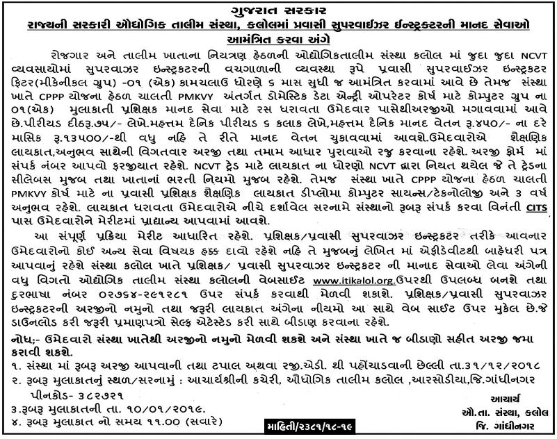 ITI Kalol Recruitment