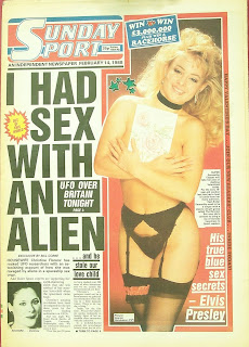 I had sex with an Alien is the headline on this old Sunday Sport front page