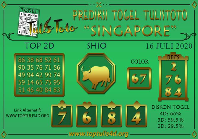 Prediksi Togel SINGAPORE TULISTOTO 16 JULI 2020