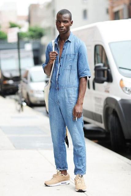 Look Masculino com Macacão Azul Jeans