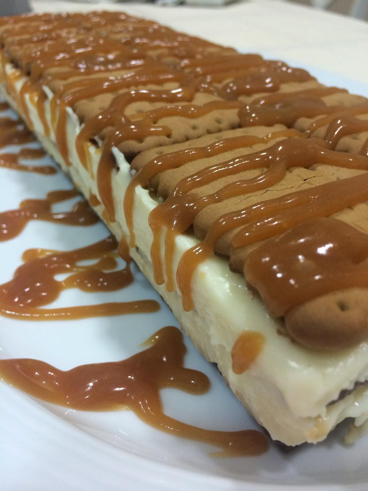 Tarta de galletas con crema de chocolate blanco