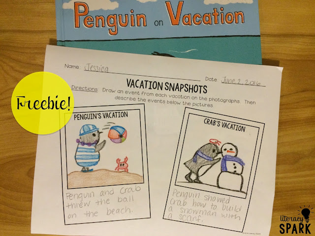 FREE printables for the mentor text Penguin on Vacation by Salina Yoon.  Comparing/contrasting, theme, and describing/retelling events.  Perfect summer book for preK through first.