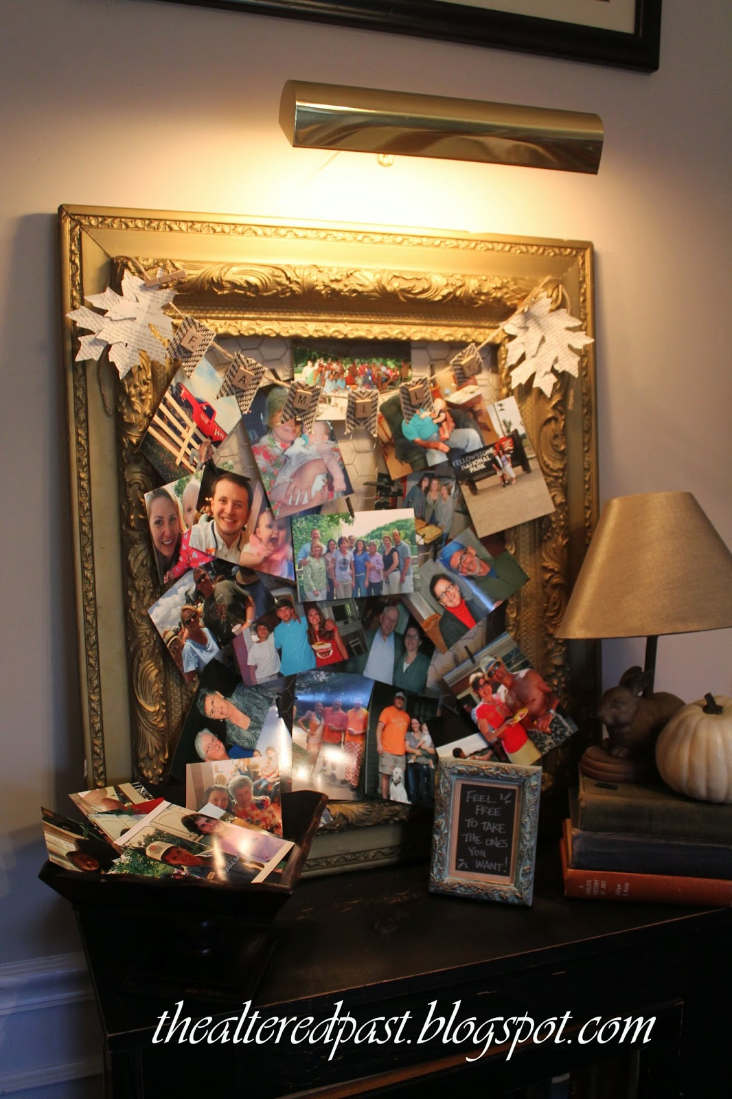 best way to display family pictures with antique frame