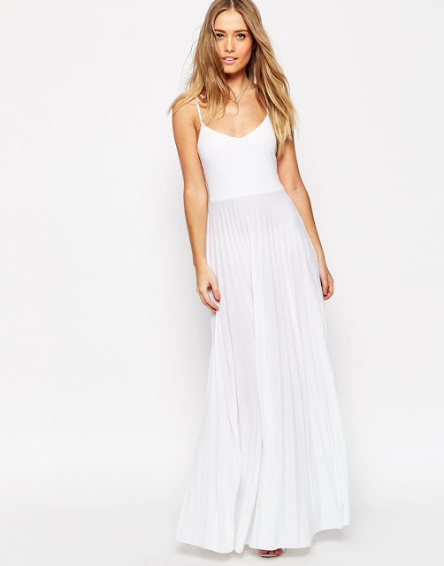 white cami maxi dress pleat skirt,