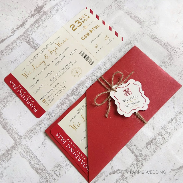 Modern Red Chinese Boarding Pass Wedding Cards Kuala Lumpur