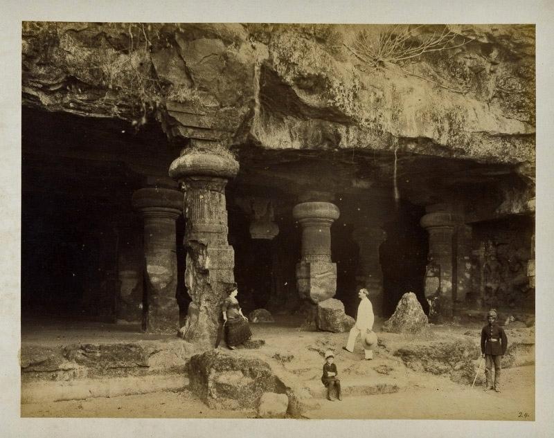 Elephanta Caves near Bombay (Mumbai), Maharashtra - c1880's