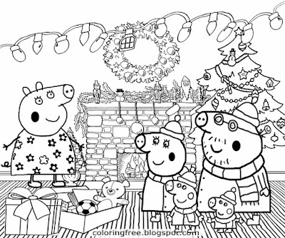 Gifts Grandpa and Granny pig family Christmas Peppa pig colouring pages printable tree decorations