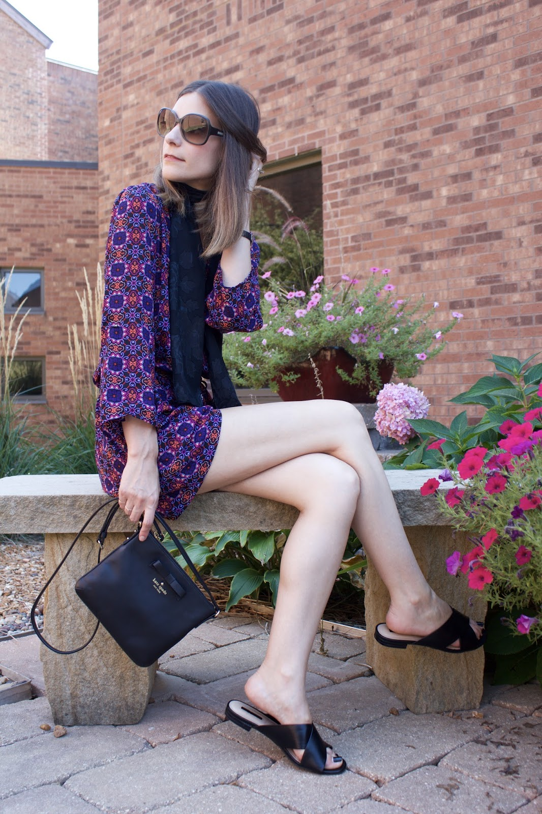 Kate Spade black leather cross-body bag