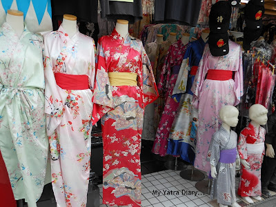 Traditional kimonos - Nakamise Dori Shopping Arcade, Sensoji Temple, Japan