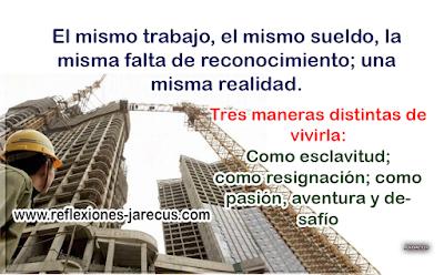Tres maneras distintas de vivir la vida✅Unos obreros estaban picando piedra frente a un enorme edificio en construcción. Se acercó un visitante a uno de los obreros y le preguntó:  ¿Qué están haciendo