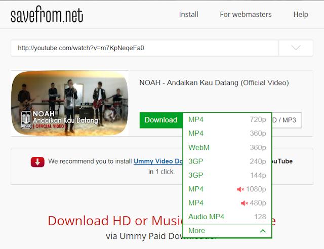 Cara Download Video di Youtube Lewat Smartphone dan PC Melalui Situs Savefrom