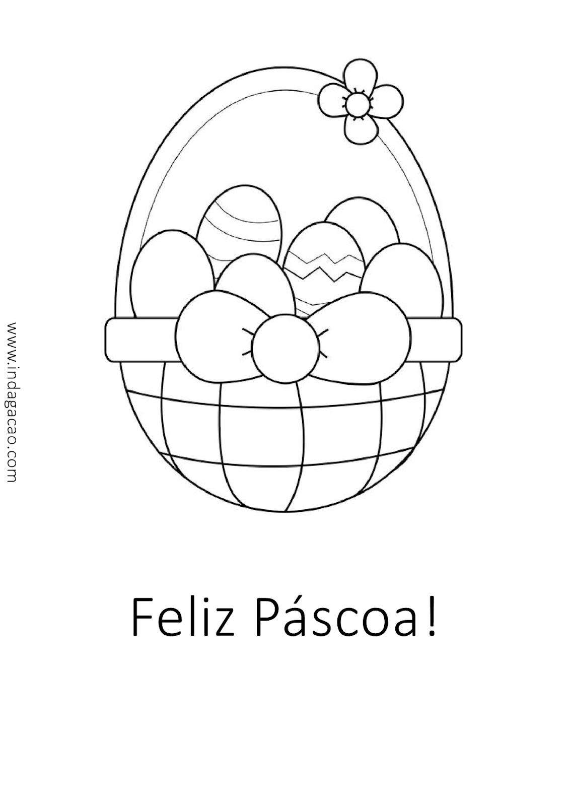 Cesto De Ovos De Pascoa Com Frase Feliz Pascoa Para Pintar
