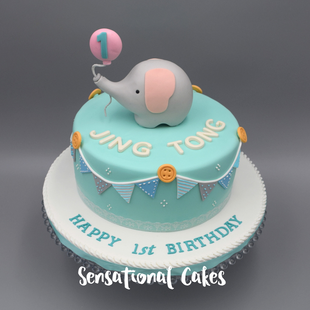The Sensational Cakes Pastel Teal Baby Boy with Baby Elephant and