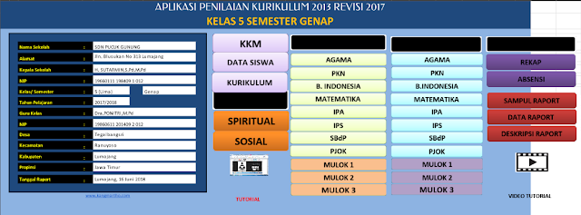 Download Aplikasi Raport K13 SD Revisi 2017 Kelas 2 dan 5 Semester 2