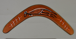 Curved boomerang with painted decoration of a kangaroo