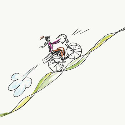 Skizze einer Radlerin, die mit einem E-Bike einen steilen Berg hoch flitzt. Zeichnung von Meike Kröger