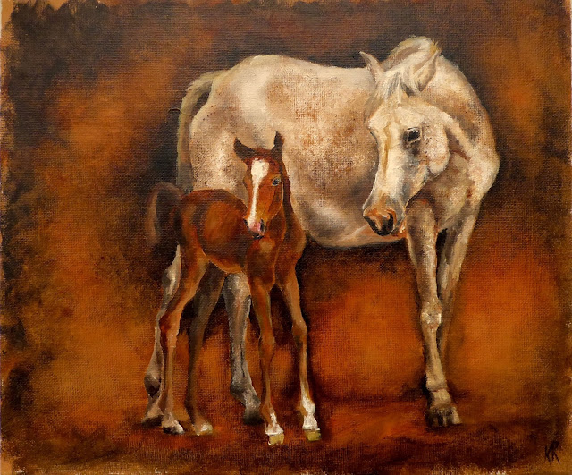 oil painting of a mare and foal