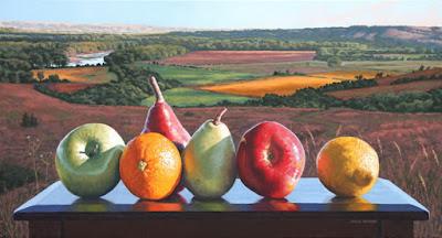 cuadros de paisajes con frutas pintados al oleo sobre tela