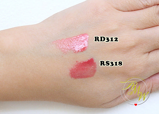 a swatch photo of Shiseido Maqui Essence Gel Rouge Review in RD312 and RS318