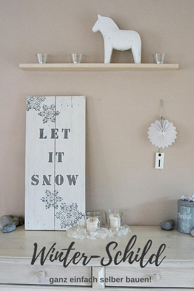 Holzschild aus alten Brettern selber bauen und beschriften Winter Weihnacht