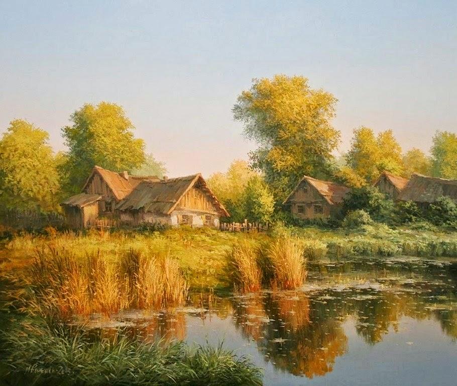 Cuadros modernos pinturas y dibujos cuadros campesinos paisajes pintados al leo - Casa rural madera y sal ...