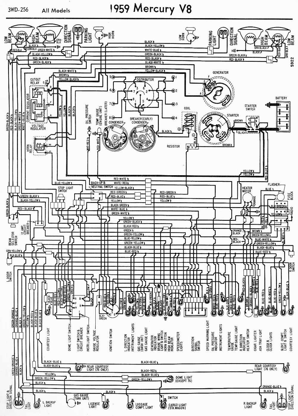 1959 Mercury V8 All Models Wiring Diagram