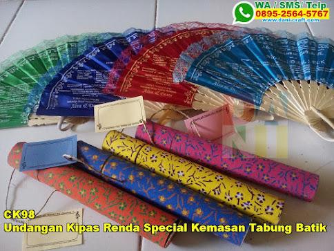 Grosir Undangan Kipas Renda Special Kemasan Tabung Batik