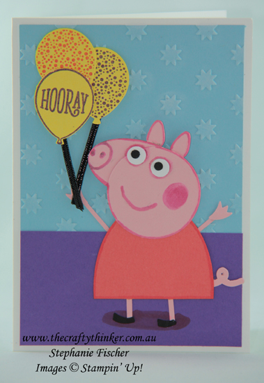 #thecraftythinker  #stampinup  #peppapigcard  #punchart  #peppapigpunchart  #cardmaking , Peppa Pig card, Punch Art Peppa Pig, Stampin' Up Australia Demonstrator, Stephanie Fischer, Sydney NSW