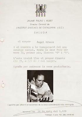 Invitación para Ángel Ribera a la inauguración del Institut d'Escacs de Catalunya (I.E.C.) en 1979