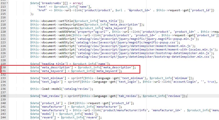 Get meta_description và meta_keyword vào trang product