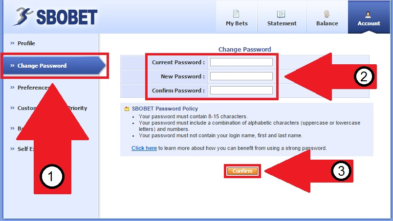 Cara Ganti Password SBOBET