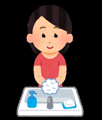 手を洗う女性のイラスト