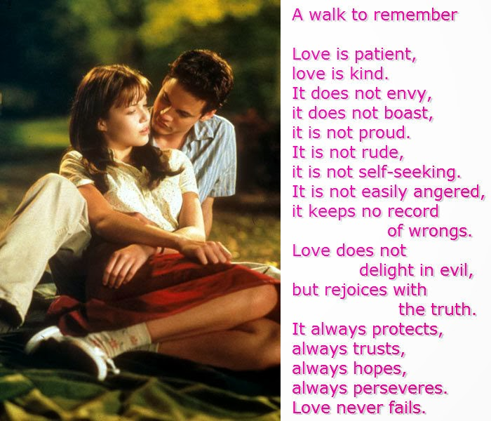 a walk to remember quotes love is always patient and kind - photo #21