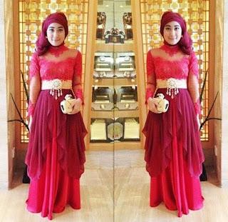 Kebaya Dress Pesta Untuk Remaja Modern Merah