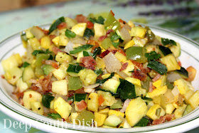 Southern Style Skillet Ratatouille - a simple stew of diced vegetables, made with bacon drippings, the Trinity of Southern Cooking, zucchini and summer squash, tomato, eggplant, okra and fresh herbs.