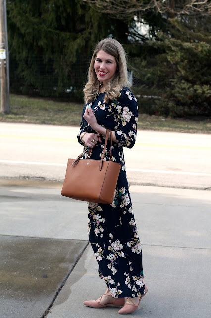 long sleeved navy floral maxi dress, blush lace up flats, Tory Burch cognac tote, rose quartz, floral dress