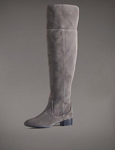 Marks and Spencer Stain Away Suede Block Heel Over The Knee Boots With Insolia