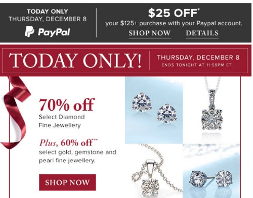 Hudson's Bay 70% Off Diamond Fine Jewellery + 60% Off Gold Gemstone & Pearl Fine Jewellery + $25 Off Paypal Special Offer