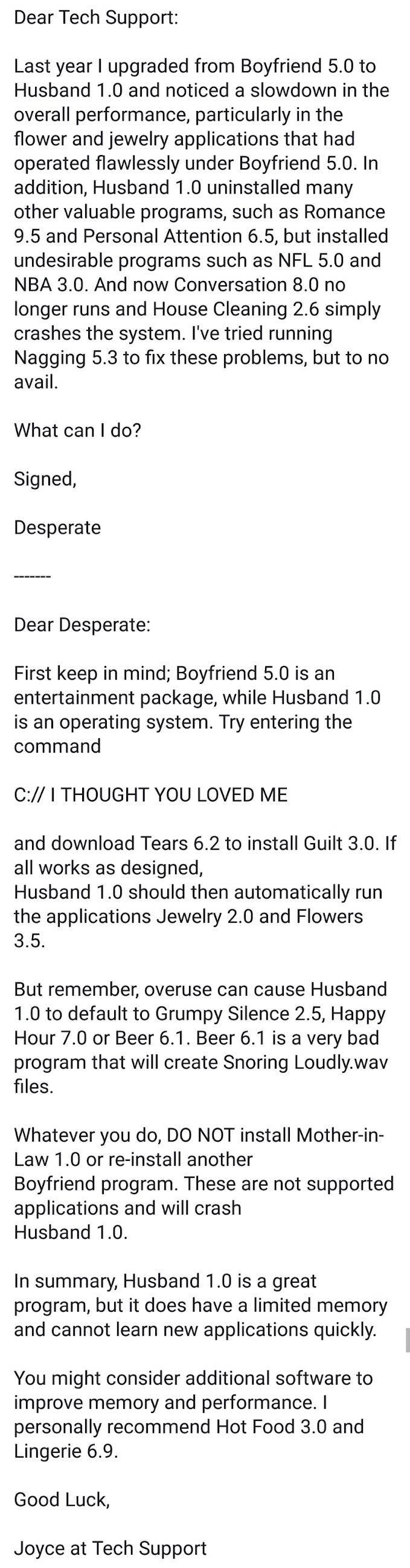 Funny Tech Support Husband 1.0 Call Picture